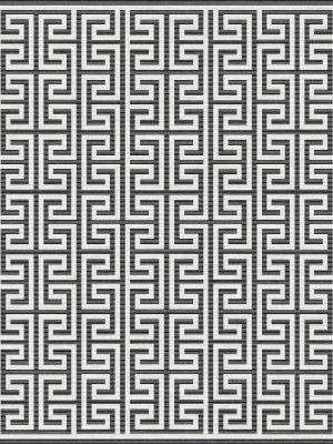 monochrome rug with greek key design