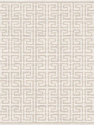 contemporary rug with greek key design in cream and gold