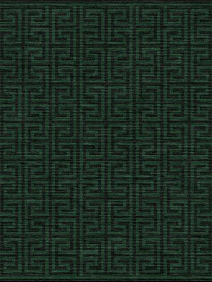 dark green contemporary rug with greek key geometric design