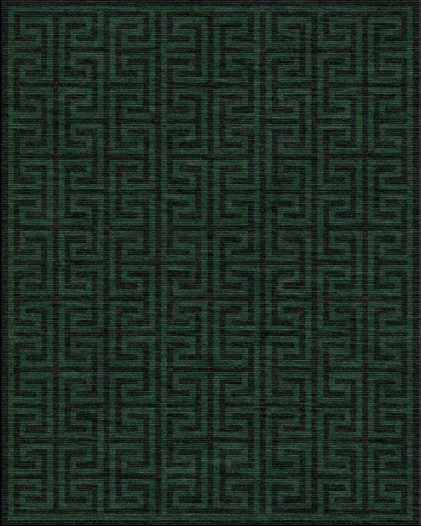 green geometric rug - zues emerald