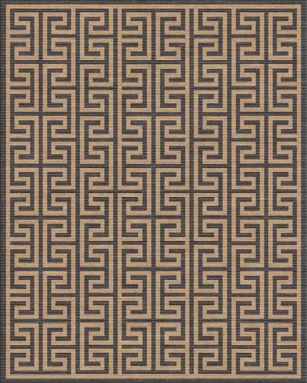 black and gold geometric rug with greek key design