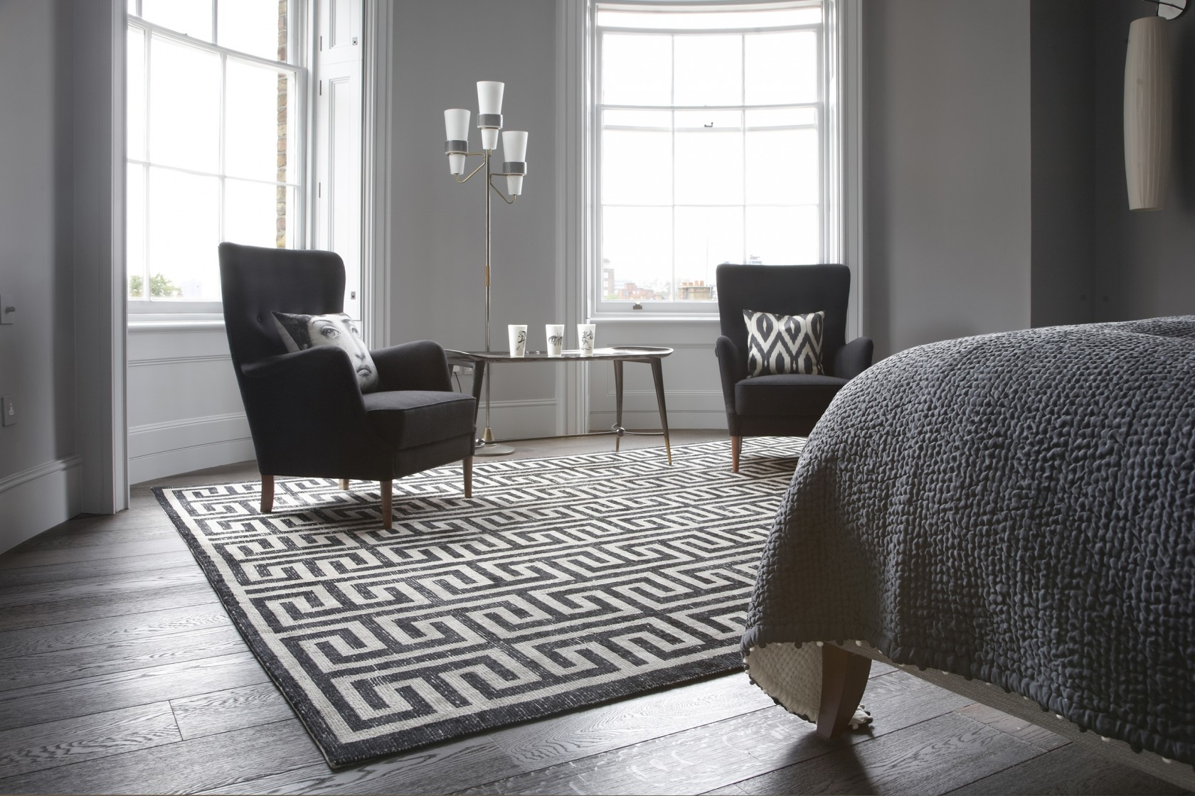 Zeus Black And White Rug Bazaar Velvet London Rugs