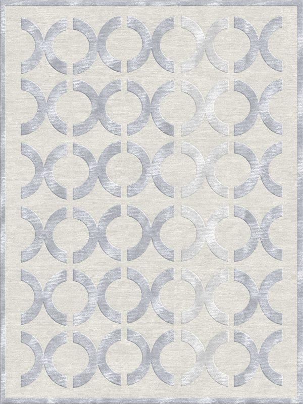 luxury geometric rug wool and silk