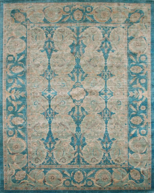 large classic teal hand knotted rug