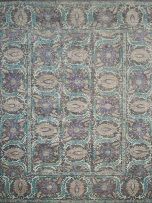 large purple rug with transitional design