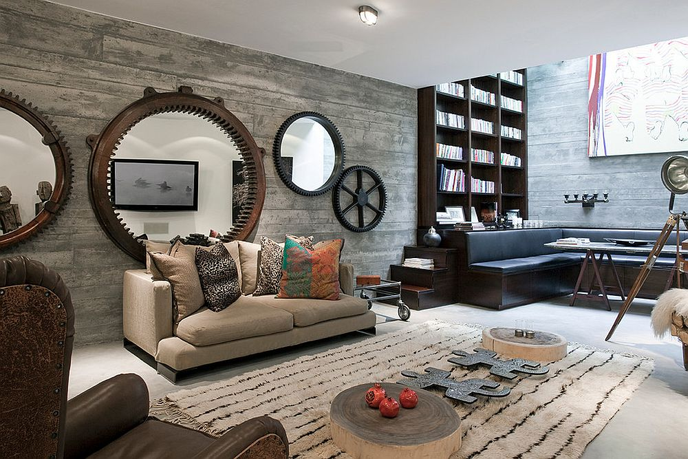 Contemporary-London-basement-with-fabulous-Antique-Wheels-Mirrors-and-shuttered-concrete-walls
