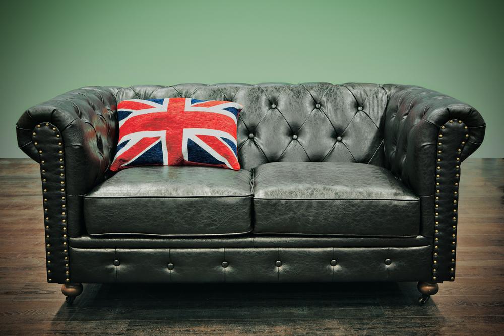 Black sofa with england flag