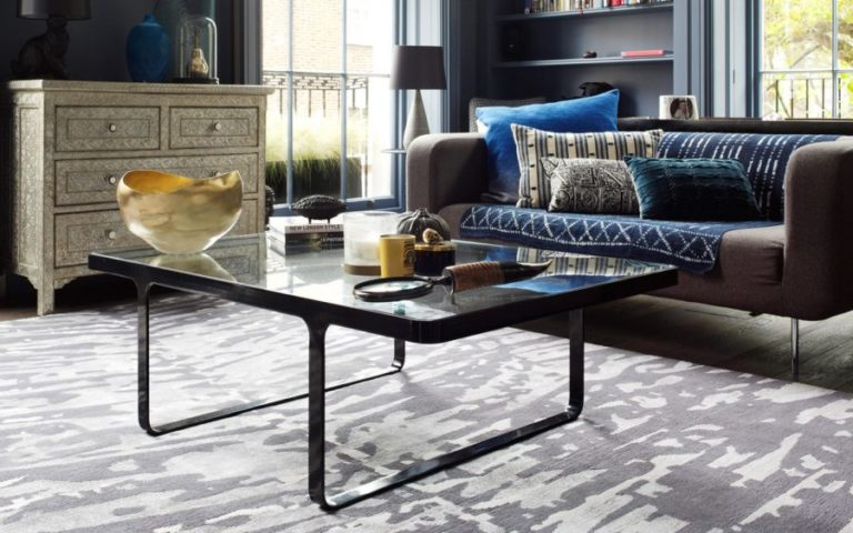 Contemporary hand-knotted Fern rug in stylish living room