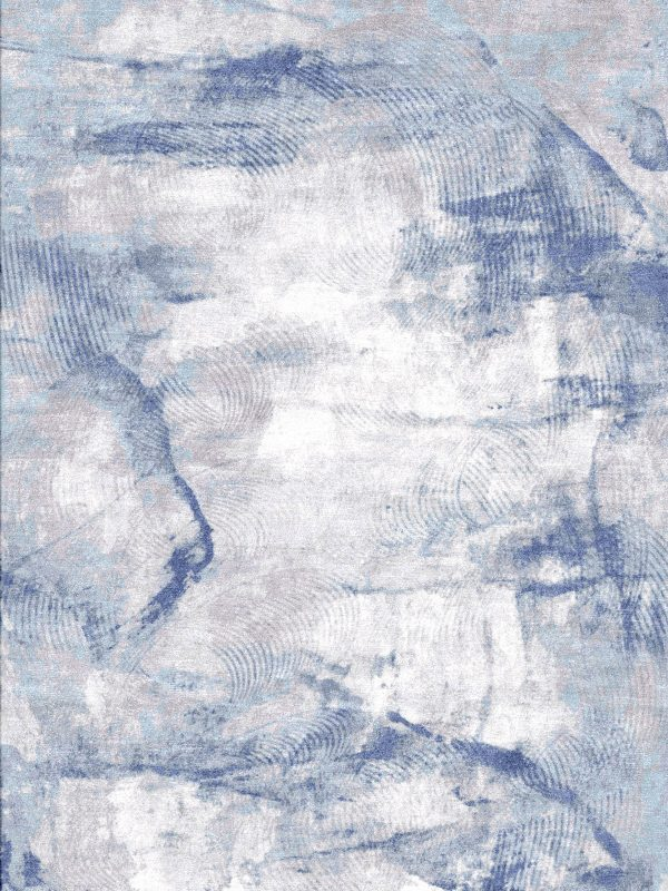 luxury abstract rug in blues and purples