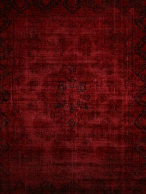red overdyed vintage rug in red