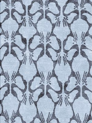 contemporary grey rug with floral pattern