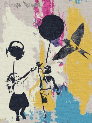 street art inspired hand knotted rug