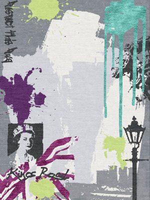 london graffiti inspired modern rug