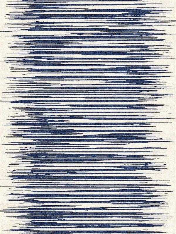 Slide Stripe Blue - Hand Made Rug - bazaar velvet