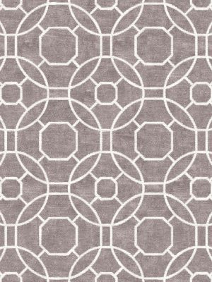 grey hand knotted rug with classic geometric design