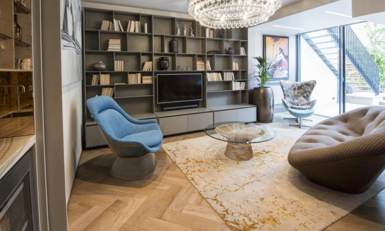 Luxury hand-knotted Levantine Gold rug in living room