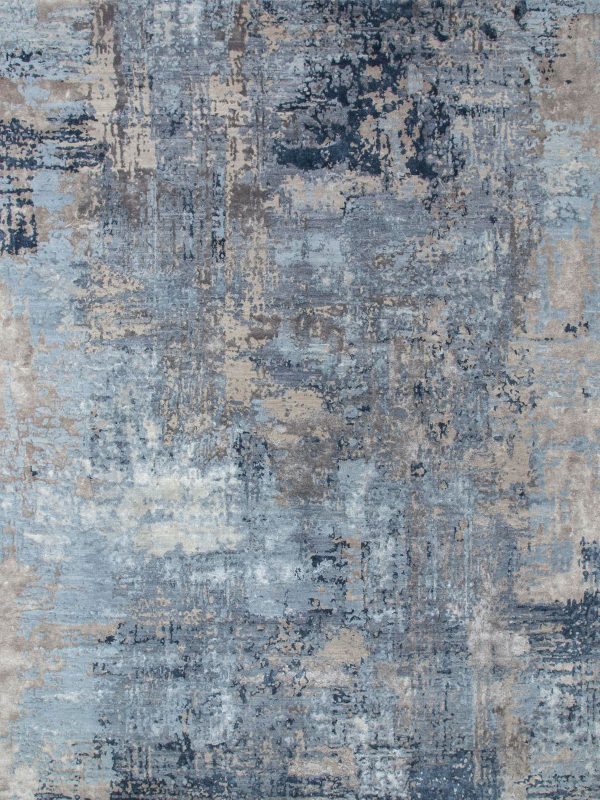 blue abstract designer rug