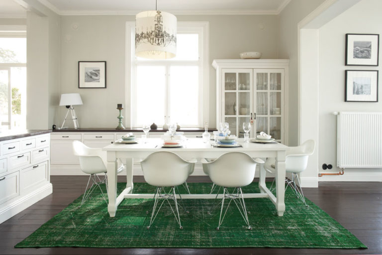 Refreshed Vintage rug in dining room