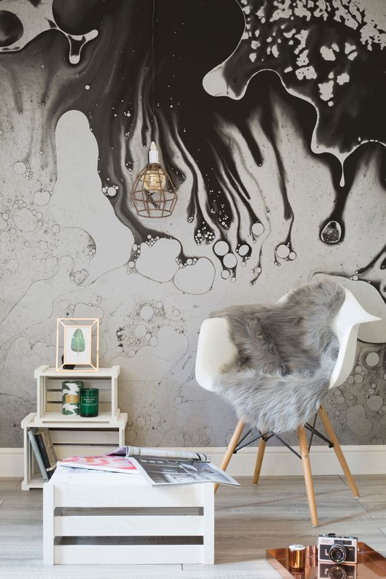 interior design with abstract style wallpaper