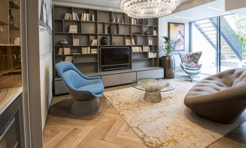 Contemporary living room with luxury Levantine gold rug   Bazaar Velvet