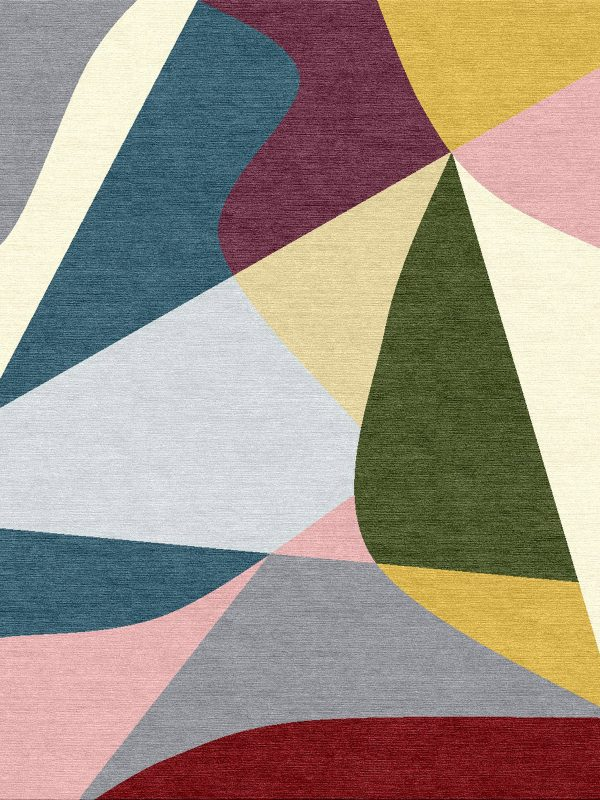 modern rug with colourful sections