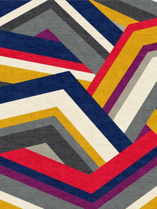 multi coloured geometric rug