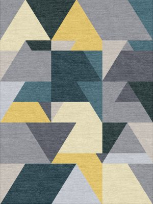 colourful geometric hand knotted rug