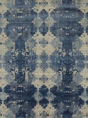 contemporary designer rug with blue