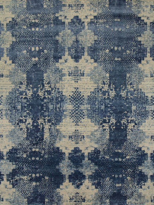 contemporary designer rug with blue