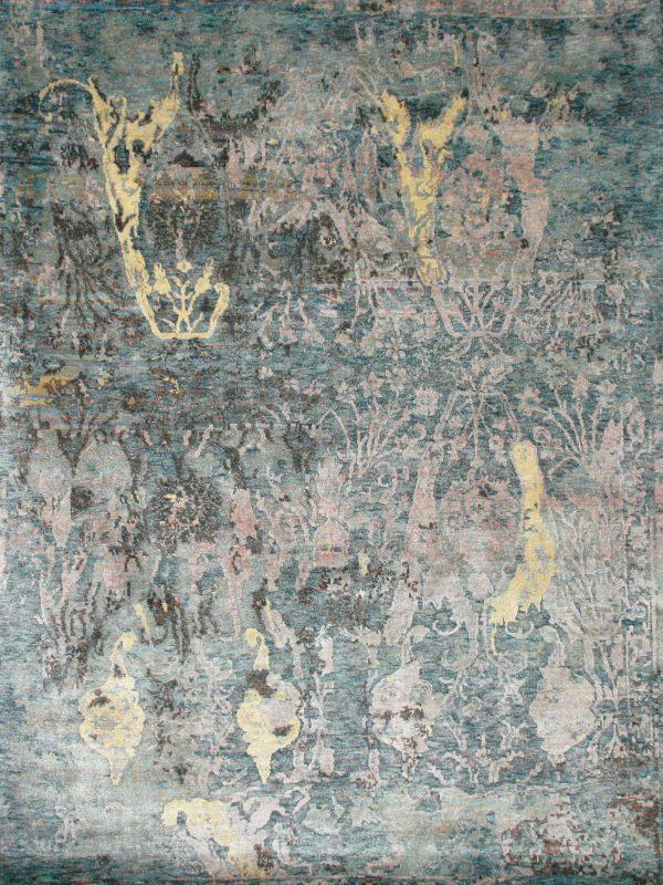 blue hand knotted designer rug