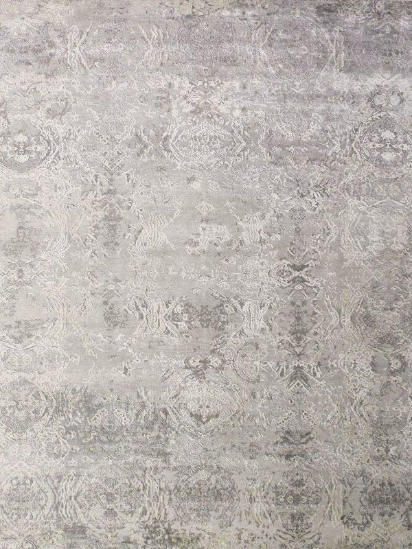 grey silk abstract rug