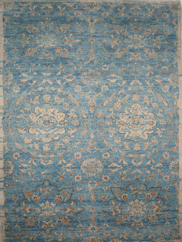 blue classic wool hand knotted rug