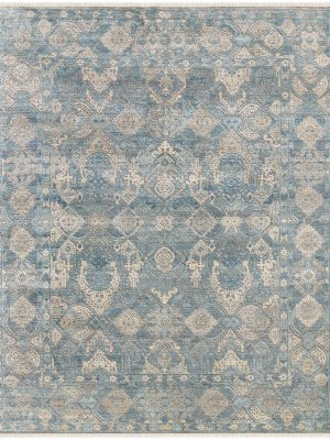 luxury rug with blue and cream silk rug