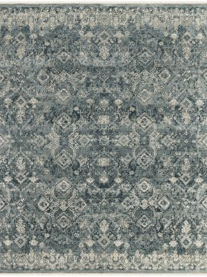 luxury blue grey hand knotted rug with wool and silk
