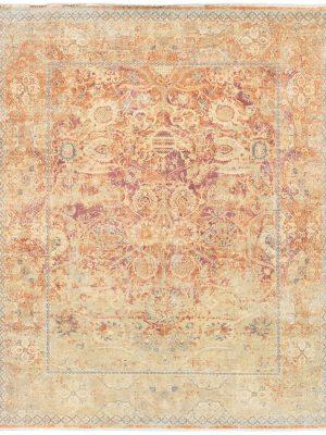 luxury rug with yellow and orange traditional design