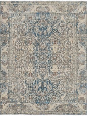 grey and blue transitional rug