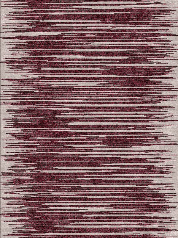 red Contemporary striped modern rug