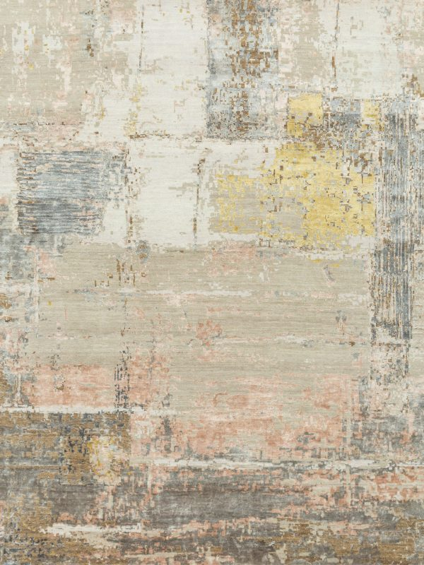 pink abstract designer rug with silk highlights