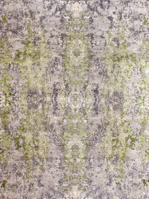 luxury rug with grey and green silk