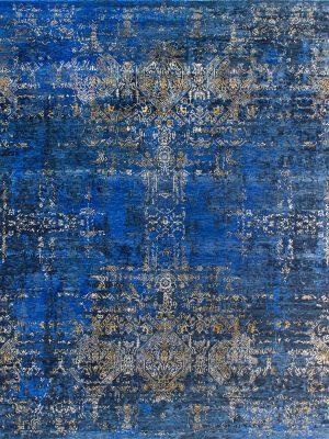 luxury blue rug with gold silk design