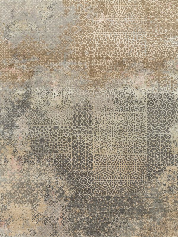 copper designer rug with transitional design