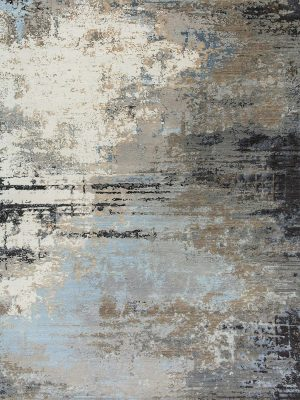 grey and blue abstract designer rug with silk