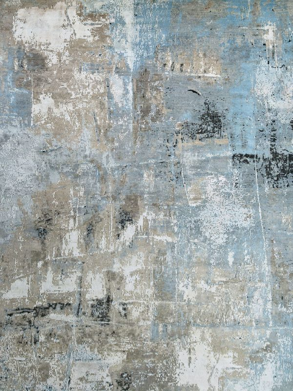 blue abstract luxury rug in wool and silk