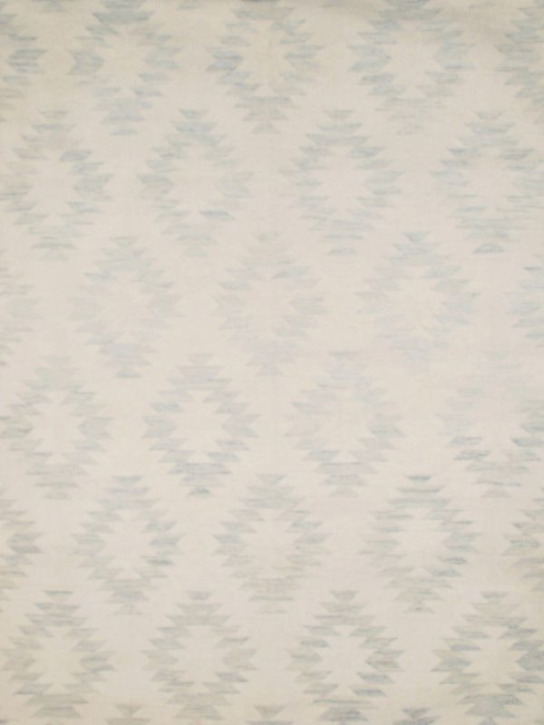 blue geometric wool rug