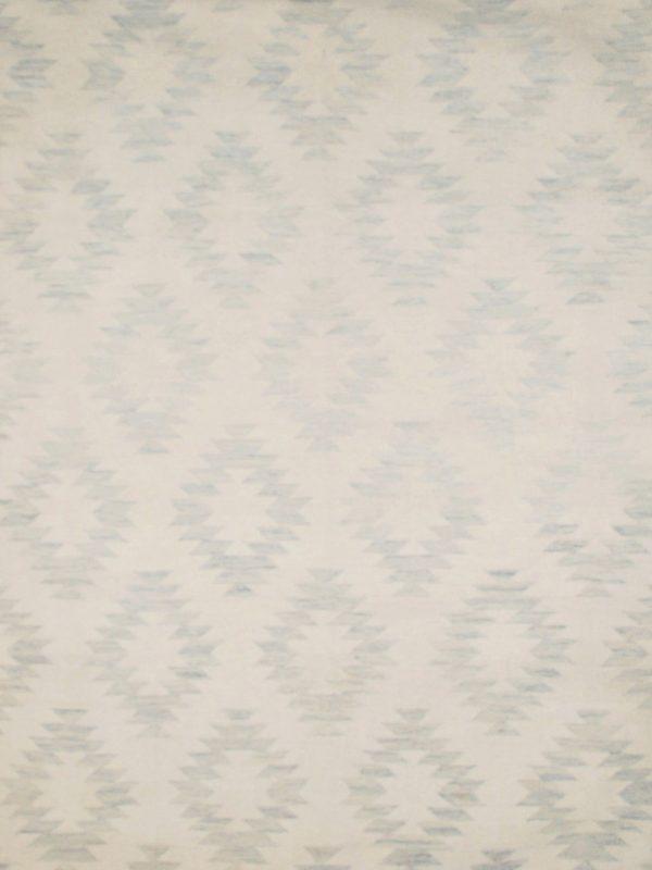 blue geometric wool rug