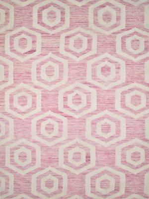 pink geometric wool rug