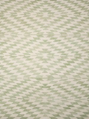 green geometric wool rug