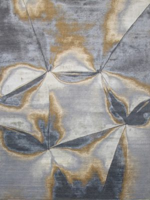 luxury wool and silk rug with grey and gold abstract design