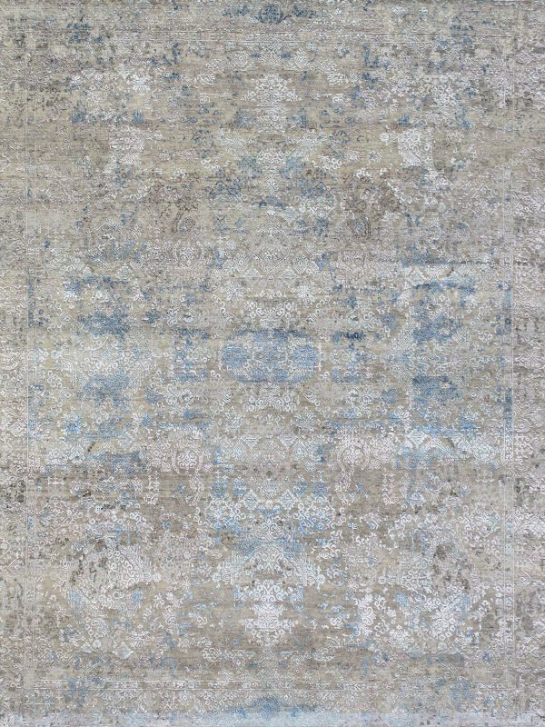 luxury rug with grey and blue transitional design