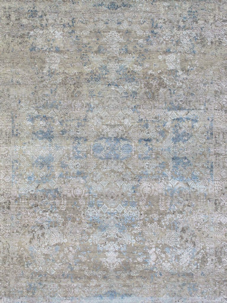 transitional rug style blue and grey